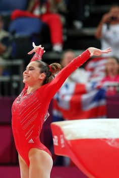 McKayla Maroney of the United States of America celebrates her performance on the vault in the Artistic Gymnastics Women's Team final.