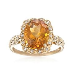 $595 Antique-style ring beams with a 4.20 carat oval citrine and .18 ct. t.w. round diamonds. 14kt yellow gold ring. Free shipping & easy 30-day returns. Fabulous jewelry. Great prices. Since 1952.