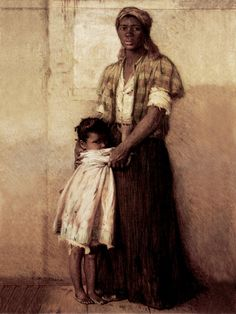 """To the Highest Bidder"" by Harry Herman Roseland - Oprah Winfrey who has called this her favorite painting in her personal collection. a pre-Civil War scene, depicts a mother and daughter that are about to be separated by a slave auction. The somber desperation in the mother's eyes both shames and challenges the viewer: ""How can you look at me, and know what is about to happen, and yet do nothing?"""
