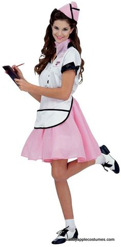 Adult Soda Shop Waitress Costume - 50s Costumes - Candy Apple Costumes