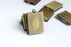 Brass Book Locket Picture Frame Pendants  3 by PrairieDogSupplies
