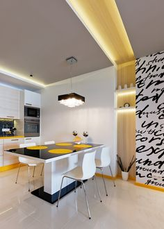 Black and Yellow (Wilanow apartment) by WamHousE , via Behance Modern Interior Design, Interior Architecture, Dining Room Table, Kitchen Dining, Bedroom False Ceiling Design, Upstairs Bathrooms, Decoration, Kitchen Remodel, Interior Decorating