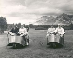 Vintage golf carts at Jasper Park Lodge golf course. Jasper National Park.