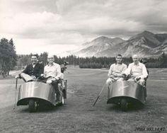 Vintage golf carts at Jasper Park Lodge golf course. Jasper National Park.