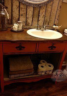 I can build it!!! :: Heather Demarest's clipboard on Hometalk :: Hometalk Bathroom Vanity With Sink, Diy Vanity, Dresser For Bathroom Vanity, Bathroom Vanities, Sinks, Bathroom Ideas, Bathroom Renos, Bathroom Storage, Bathroom Inspiration