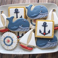 nautical theme and whales Summer Cookies, Fancy Cookies, Cute Cookies, Cupcake Cookies, Cupcakes, Distintivos Baby Shower, Baby Shower Cookies, Cookie Frosting, Royal Icing Cookies