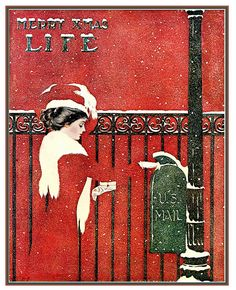"Coles Phillips - Life magazine, December 1909  Coles Phillips [American artist and illustrator, 1880 – 1927)].  Phillips was one of the chief architects of the ""Golden Age of American Illustration"" whose ""fade-away"" style of illustration was highly popular."