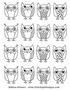 At Home With Crab Apple Designs: Owls Coloring Page: Day 7 of 7