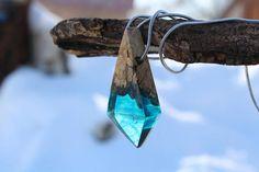 Wood resin pendant Blue Resin NecklaceCrystal resin Wooden