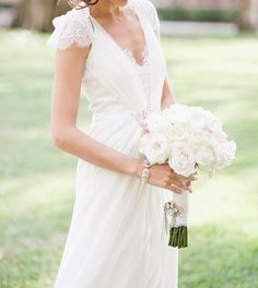 V-neck Capped Sleeves Ruching lace Wedding Dress ,princess wedding dress