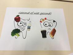 Gezond of niet gezond? Plak het juiste eten/drinken op de tanden.