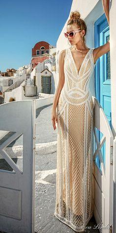 Eva Lendel 2017 bridal sleeveless deep v neck full embellishment geomatric lace ivory color elegant sheath wedding dress open low back (antonia) mv #wedding #bridal #weddingdress