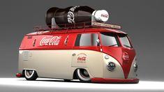 Coca Cola VW Bus with bottle on top Volkswagen Bus, Volkswagen Transporter, Vw T1, Vw Caravan, Vw Camper, Full Hd Background, Combi Vw T2, Coca Cola Wallpaper, Vans Vw