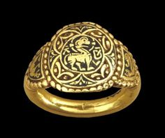 Queen Æthelswith's Ring, C. ADThe owner of this ring was Æthelswith, Queen of Mercia AD), and sister of Alfred the Great. It was found at Aberford in West Yorkshire, England in The bezel is circular with a pearled border; Medieval Jewelry, Viking Jewelry, Ancient Jewelry, Medieval Art, Medieval Life, Antique Jewelry, Historical Artifacts, Ancient Artifacts, Royal Jewels