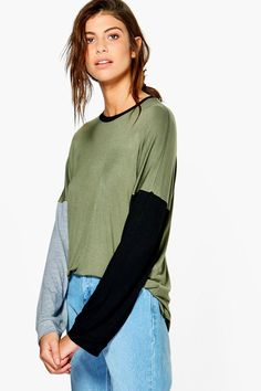 Phillipa Contrast Colour Block Oversized T-Shirt