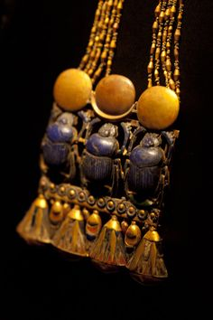 This artifact, Pectoral with Three Scarabs, was found on the neck of the #Tutankhamun mummy. #Egypt