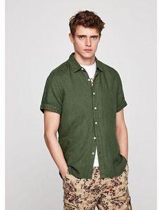 100% algodón camisa casual de los hombres 2018 verano manga corta ejército masculino moda juvenil militar verde azul marino bolsillos de color caqui