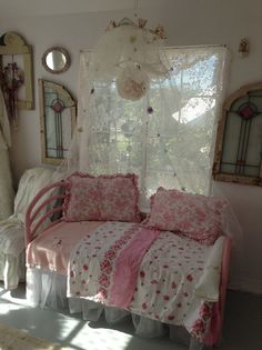 great ideas! Toddler bed made into a loveseat, and the stained glass windows, netting canopy! Cool!