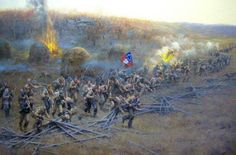 """""""They Came LIke Demons"""", an excellent Trans-Mississippi Painting by Andy Thomas, of Carthage, Missouri, illustrates the Western End of the Prairie Grove, Arkansas, Battlefield. This painting depicts what many think happened during the battle based on the Official Records, diaries, memoirs, and letters."""