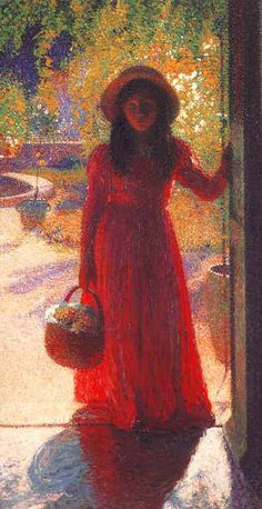 Gabrielle at the Gate,   Henri Martin   just so beautiful how the light glows even in the shadows, gives such a wonderful feeling :)