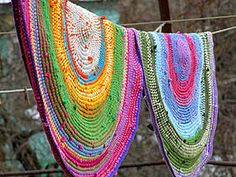 """DIY Crochet Rug With Yarn & Old T-Shirts. This is on my """"clean up """" list. Making this will clean out t-shirts I've saved and scraps of yarn."""