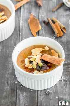 Masala Chai Creme Brulee - Cook With Manali Masala Chai, Second Breakfast, Breakfast Dessert, Homemade Chai Recipe, Vegan Desserts, Dessert Recipes, Toasted Coconut Chips, Classic Desserts, How Sweet Eats