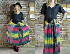 Vintage 80's Indian Cotton Tie Dye Bohemian Embroidered Hippie Dress