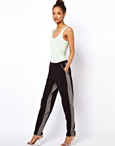 Image 1 of ASOS Peg Trousers with Monochrome Panels- 49.00