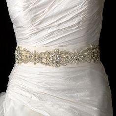 Olivier Laudus, on French Wedding Style - bridal sash added to wedding dress