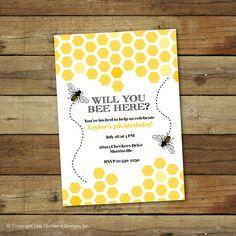 Bumble bee birthday party invitation bee hive by saralukecreative, $15.00