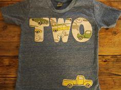 Vintage car and truck Birthday Shirt Organic Blend Black Shirt Truck Party. $29.00, via Etsy.
