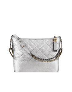 CHANEL's GABRIELLE hobo bag, metallic crumpled calfskin, silver-tone & gold-tone metal-silver - CHANEL