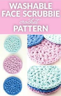 Save the environment and add a homemade touch and with this quick and easy pattern for reusable crochet face scrubbies. These washable cotton face cleansing pads are great for removing makeup and cleansing your face. Quick Crochet Patterns, Scrubbies Crochet Pattern, Diy Crochet Face Scrubbies, Crochet Dishcloths, Wash Cloth Crochet Pattern, Crochet Ideas, Loom Patterns, Cotton Crochet, Knit Or Crochet