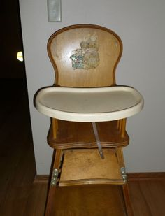 VINTAGE WOOD CHILDS HIGH CHAIR WITH FLIP UP TRAY - mid century #Storkline