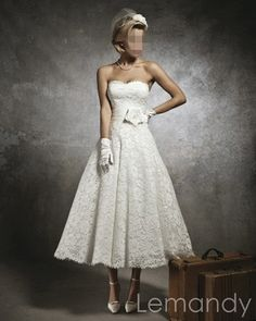 classic strapless sweetheart princess lace wedding gown ankle length. $225.00, via Etsy.