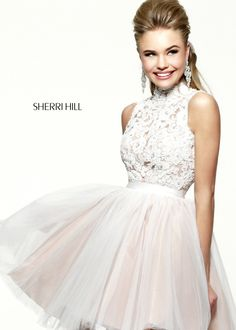 Sherri Hill 21345 - Ivory/Nude Lace Short Prom Dresses Online