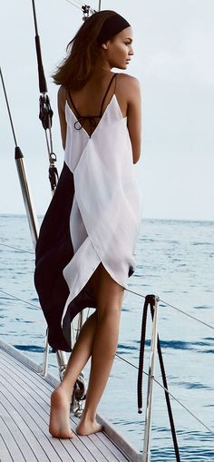 Black-and-white slip dress
