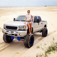 Lifted Chevy on the beach