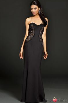 Black Strapless Off the Shoulder Mermaid Lace Nude Panel Evening Dress