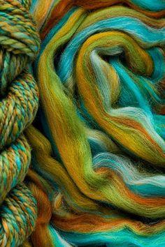 Roving (combed top) fiber for spinning. Spinning Wool, Spinning Wheels, Hand Spinning, Yarn Stash, Yarn Needle, Needle Felting, Knitting Stitches, Knitting Yarn, Dyeing Yarn