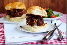 Stuffed French Onion Soup Sliders are 4-bite burgers stuffed with cheese and topped with a luscious french onion topping! | iowagirleats.com