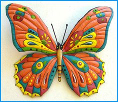 Painted Metal Orange Butterfly Wall Hanging, Whimsical Art Design, Funky Art, Metal Wall Art, Haitian Art,Outdoor Garden Decor - by TropicAccents