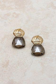 14K Black Diamond Omega Earrings