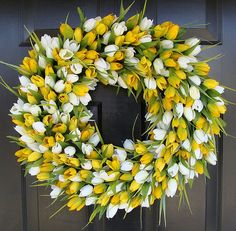 Colorful Spring tulip wreath ($75) from Etsy   Easter Decor