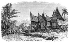 Malay Archipelago Chief's House and Rice-shed in a Sumatran Village - The Malay Archipelago (book) - Wikimedia Commons Mineral Water Brands, Minangkabau, Water Branding, Asia News, Fishing Villages, Archipelago, Traditional House, Southeast Asia, Old Things