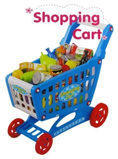"19"" Mini Shopping Cart with Full Grocery Food Toy Playset for Kids by My Shopping Cart. $29.95. Your very own mini shopping cart!  Shopping cart resembles real shopping carts.  Play with 78 grocery food items.  Includes fruits, vegetables, canned goods and boxed goods.  Shopping cart requires assembly and measures 17"" (length) by 10"" (width) by 19"" (height).  This complete shopping cart and grocery food play set is fun and educational for your kids.  For ages 3+."