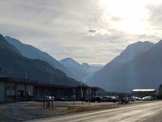 Glacier at the back of the airport in Valdez