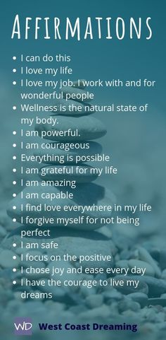 Daily affirmations to stay positive and on track to harness the power of the Law of Attraction.