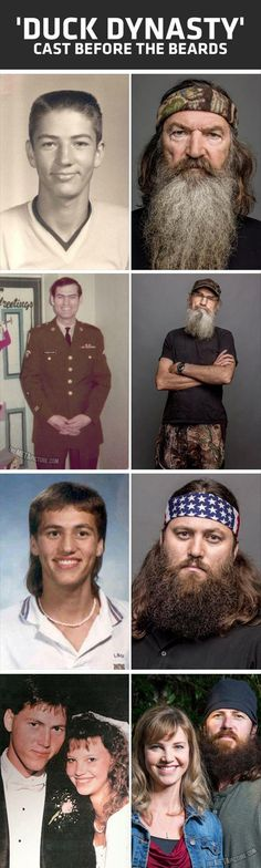 duck dynasty before the beards- I'd like to see what they look like now without beards but seriously- bearded = better for these gents.