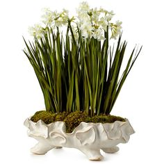 John-Richard Collection Paperwhite Garden Faux-Floral Arrangement (€430) ❤ liked on Polyvore featuring home, home decor, floral decor and white